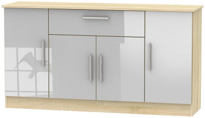 Contrast 4 Door 1 Drawer Wide Sideboard - High Gloss Grey and Bardolino