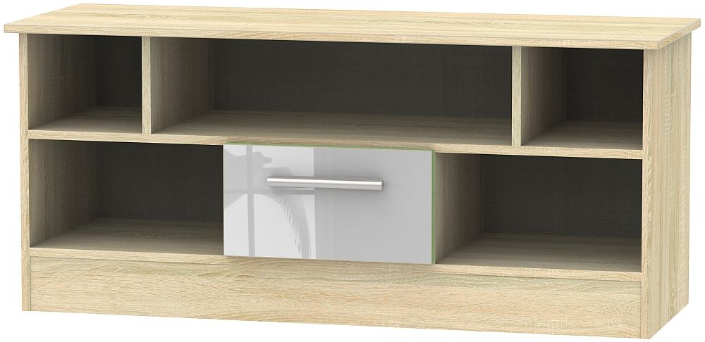 Contrast 1 Drawer Open TV Unit - High Gloss Grey and Bardolino