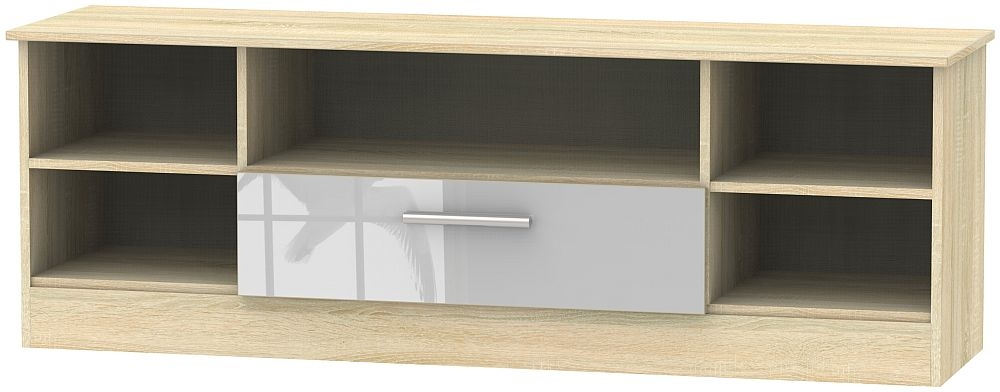 Contrast 1 Drawer Wide Open TV Unit - High Gloss Grey and Bardolino