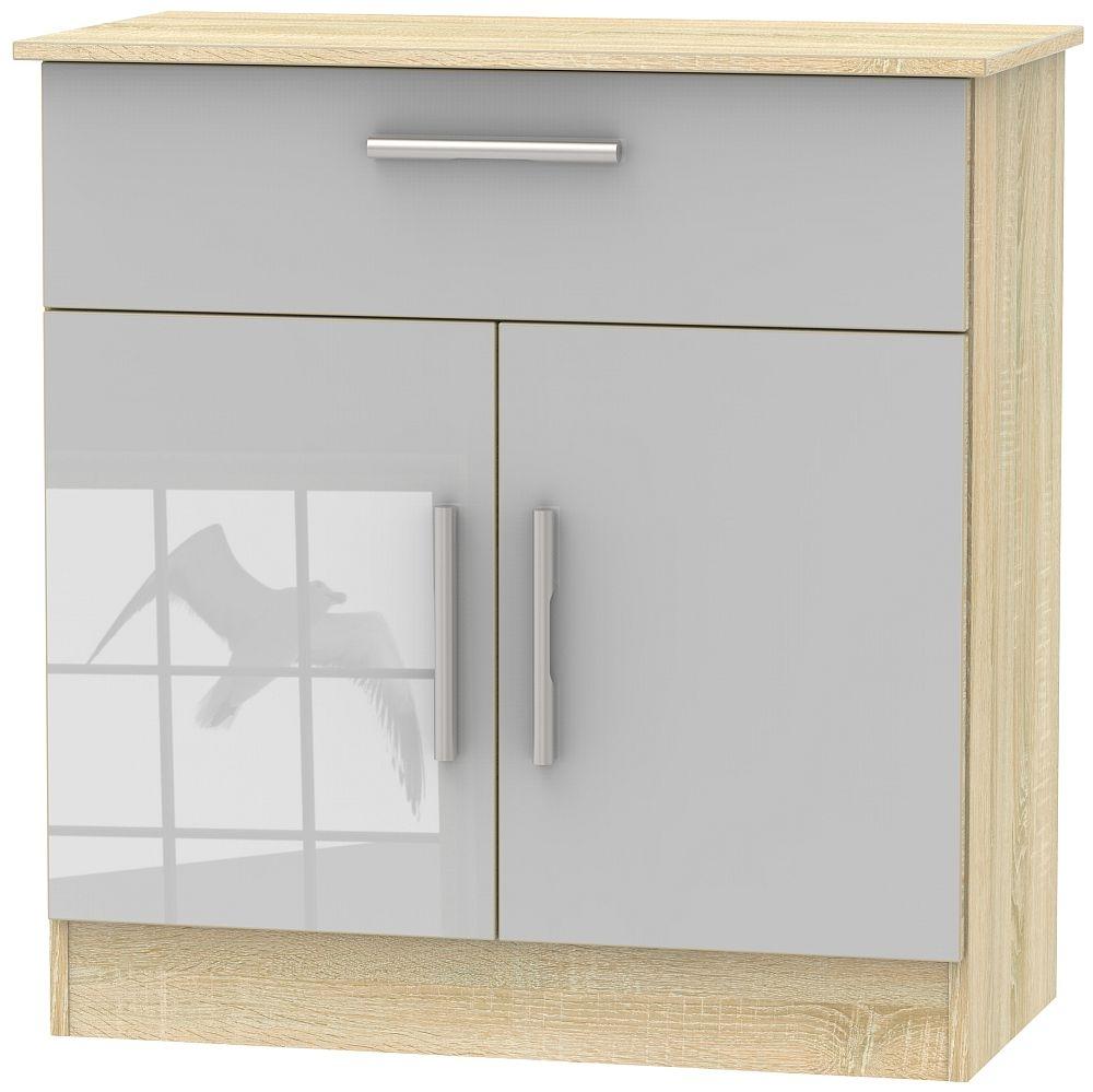 Contrast 2 Door 1 Drawer Narrow Sideboard - High Gloss Grey and Bardolino