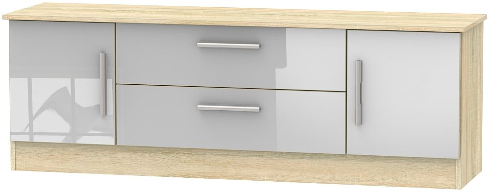 Contrast 2 Door 2 Drawer Wide TV Unit - High Gloss Grey and Bardolino