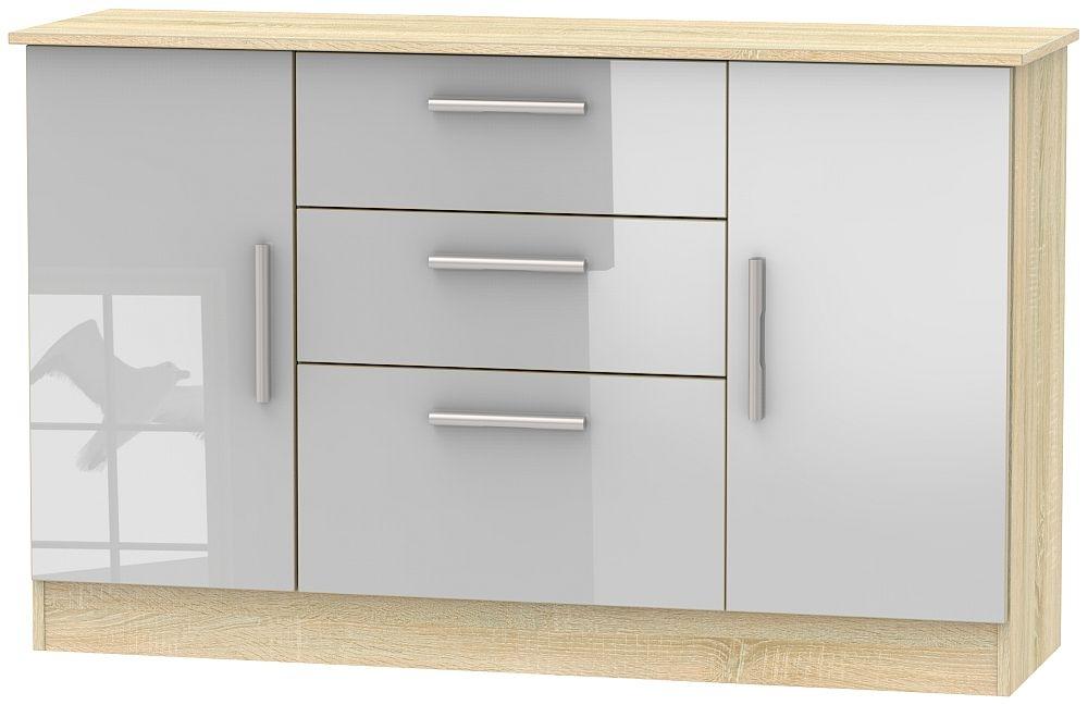 Contrast 2 Door 3 Drawer Sideboard - High Gloss Grey and Bardolino