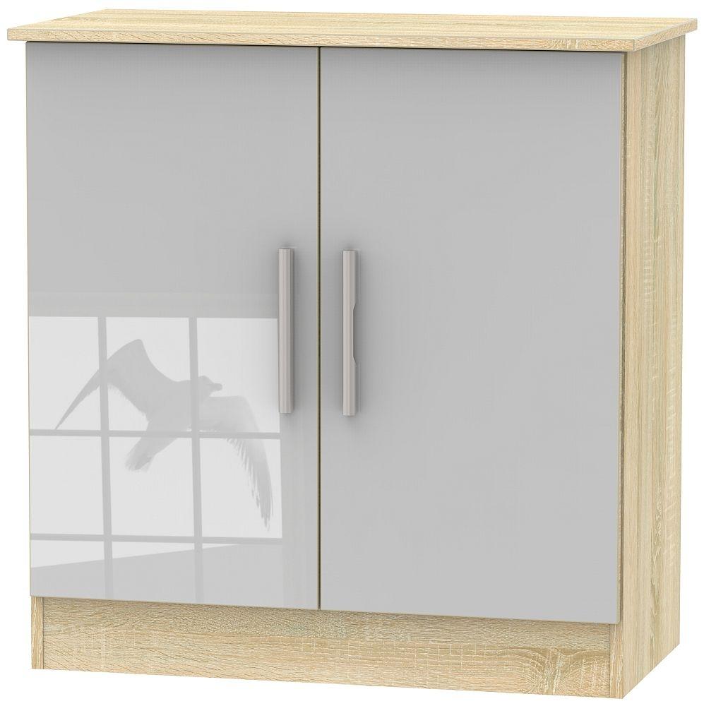 Contrast 2 Door Hall Unit - High Gloss Grey and Bardolino