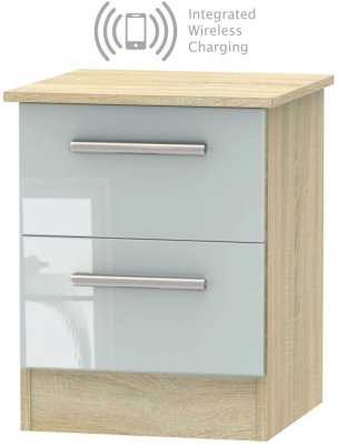 Contrast 2 Drawer Bedside Cabinet with Integrated Wireless Charging - High Gloss Grey and Bardolino