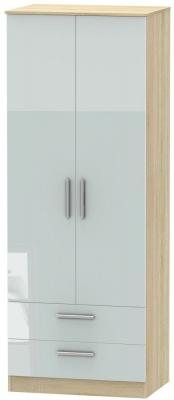 Contrast 2 Door 2 Drawer Wardrobe - High Gloss Grey and Bardolino