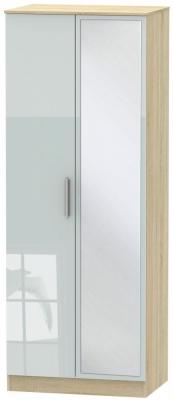 Contrast 2 Door Mirror Wardrobe - High Gloss Grey and Bardolino