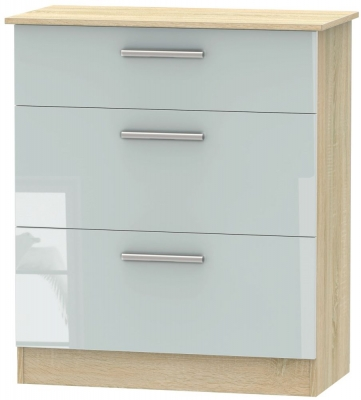Contrast 3 Drawer Deep Chest - High Gloss Grey and Bardolino