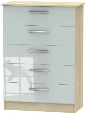 Contrast 5 Drawer Chest - High Gloss Grey and Bardolino