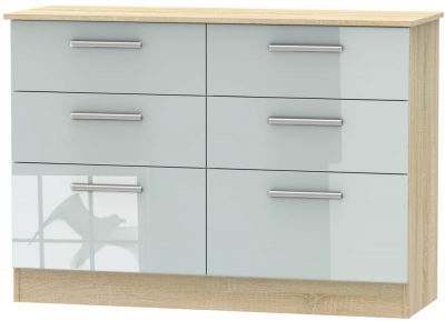 Contrast 6 Drawer Midi Chest - High Gloss Grey and Bardolino