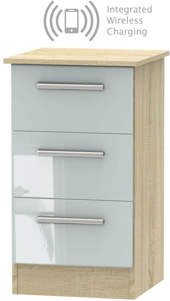 Contrast 3 Drawer Bedside Cabinet with Integrated Wireless Charging - High Gloss Grey and Bardolino