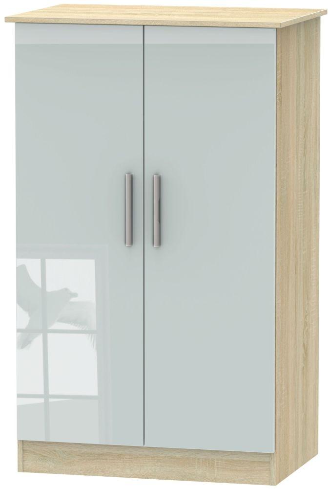 Contrast 2 Door Midi Wardrobe - High Gloss Grey and Bardolino