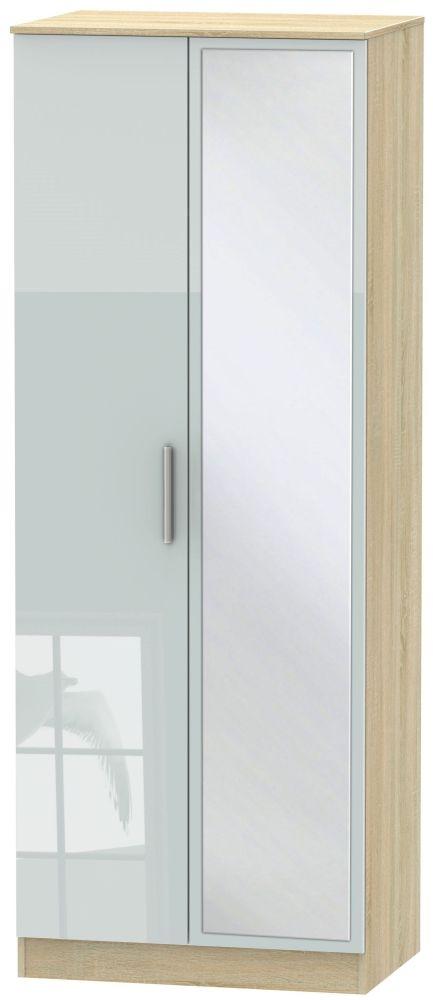 Contrast High Gloss Grey and Bardolino 2 Door Tall Mirror Double Wardrobe