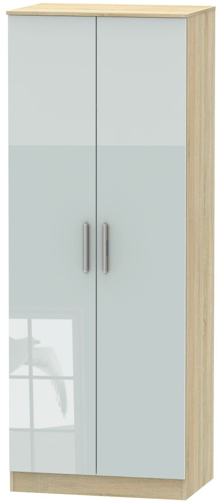 Contrast High Gloss Grey and Bardolino 2 Door Tall Plain Double Wardrobe
