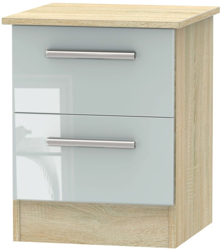 Contrast High Gloss Grey and Bardolino 2 Drawer Locker Bedside Cabinet