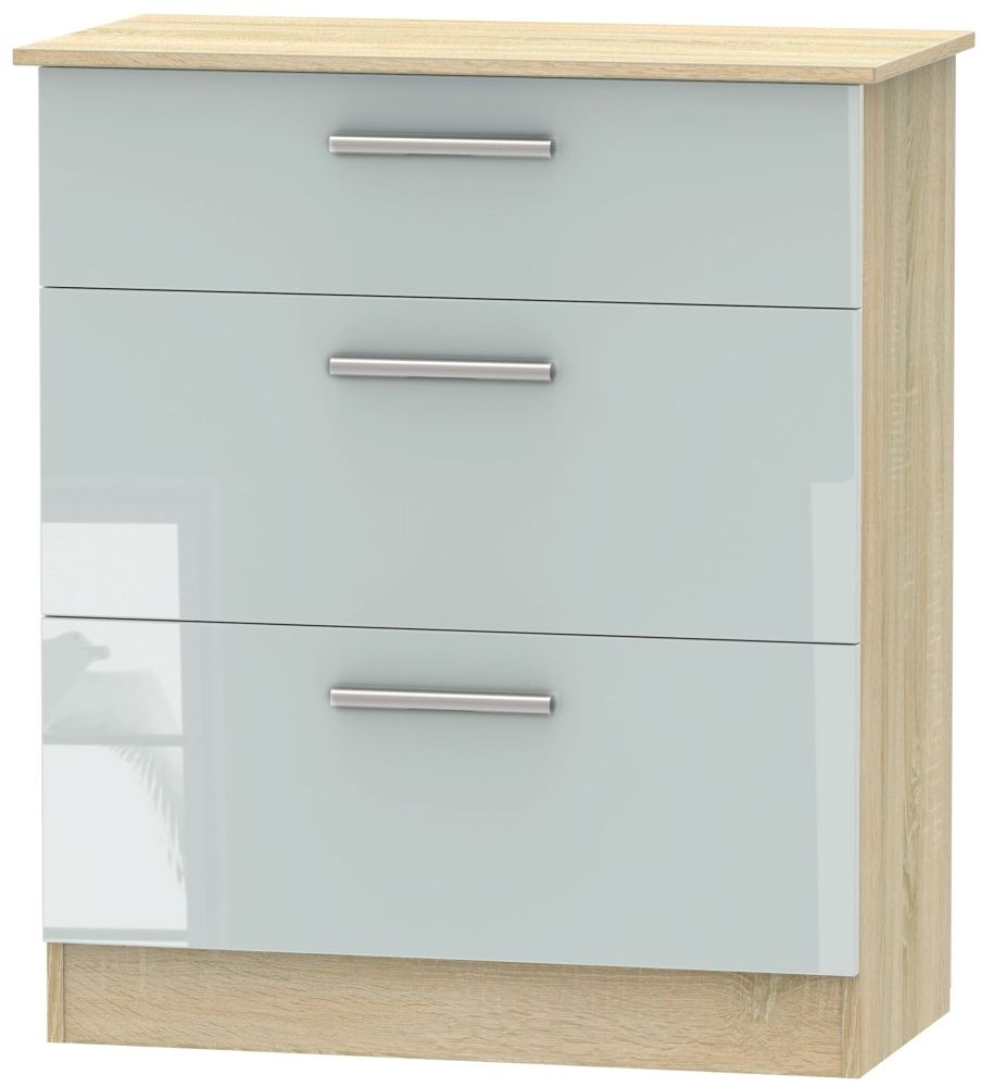 Contrast High Gloss Grey and Bardolino 3 Drawer Deep Chest