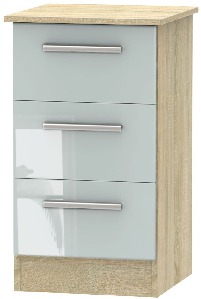 Contrast High Gloss Grey and Bardolino 3 Drawer Locker Bedside Cabinet