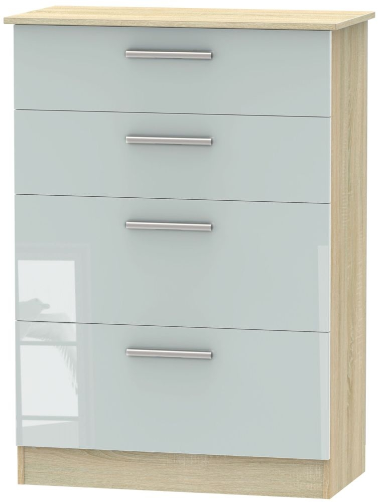 Contrast High Gloss Grey and Bardolino 4 Drawer Deep Chest