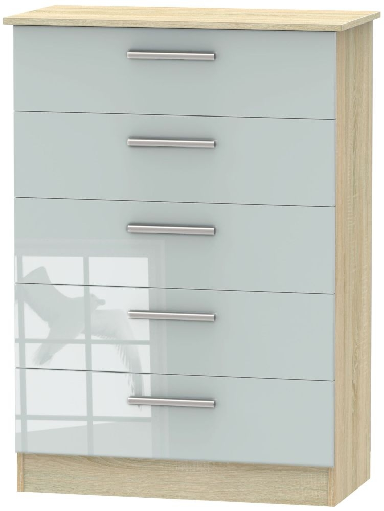 Contrast High Gloss Grey and Bardolino 5 Drawer Chest