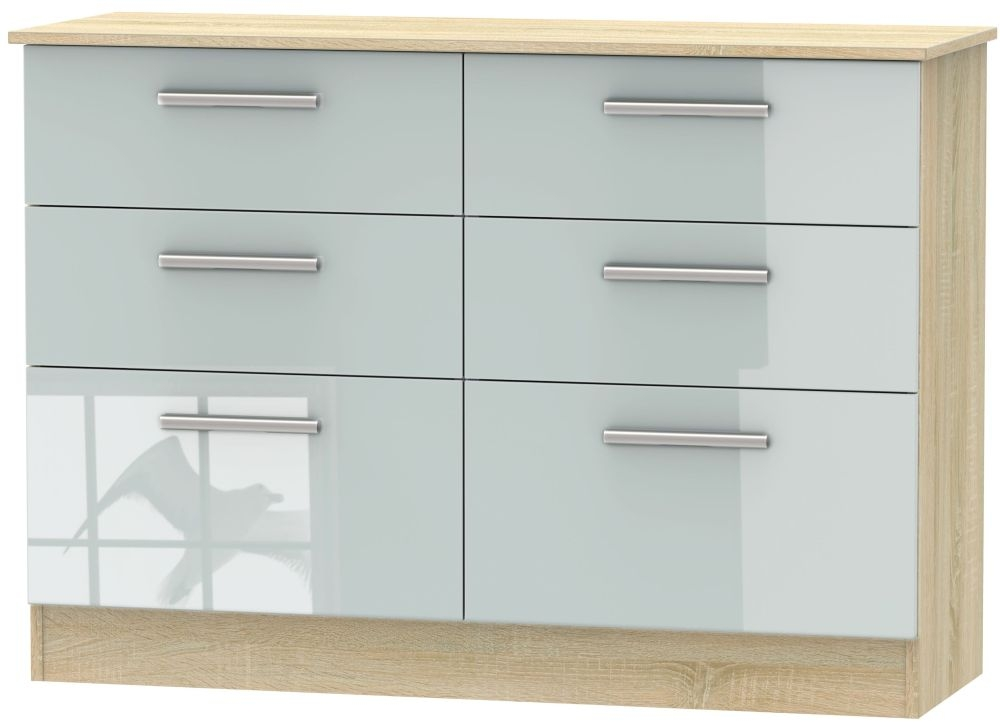 Contrast High Gloss Grey and Bardolino 6 Drawer Midi Chest