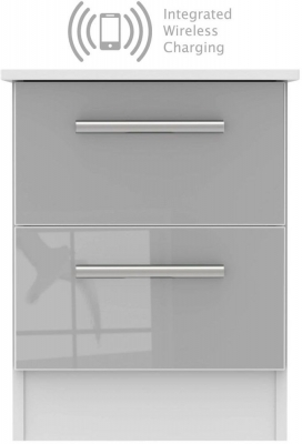Contrast 2 Drawer Bedside Cabinet with Integrated Wireless Charging - High Gloss Grey and White