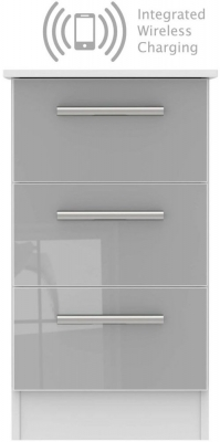 Contrast 3 Drawer Bedside Cabinet with Integrated Wireless Charging - High Gloss Grey and White