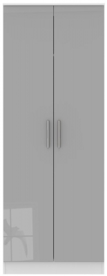 Contrast Grey High Gloss and White 2 Door Tall Plain Double Wardrobe