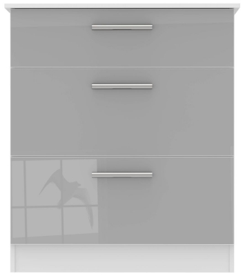 Contrast 3 Drawer Deep Chest - High Gloss Grey and White