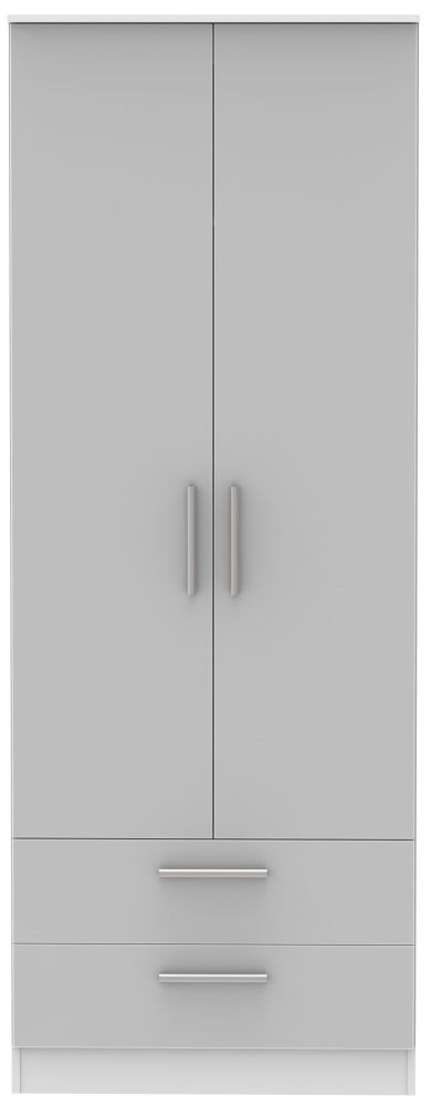Contrast Grey High Gloss and White 2 Door 2 Drawer Tall Double Wardrobe
