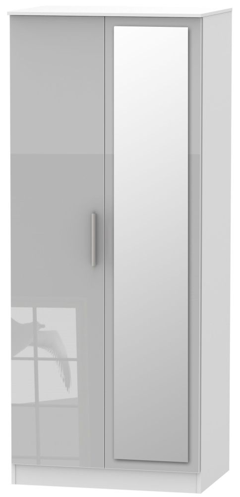 the best attitude 62349 b6ae3 Contrast 2 Door Mirror Wardrobe - High Gloss Grey and White