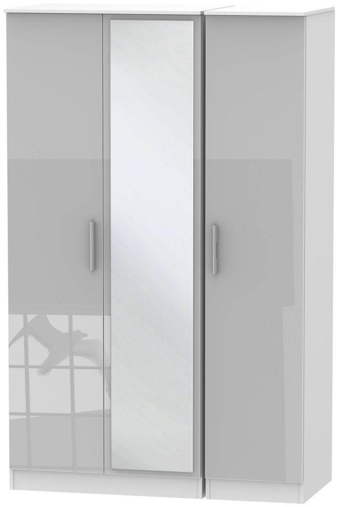 Contrast Grey High Gloss and White 3 Door Mirror Triple Wardrobe