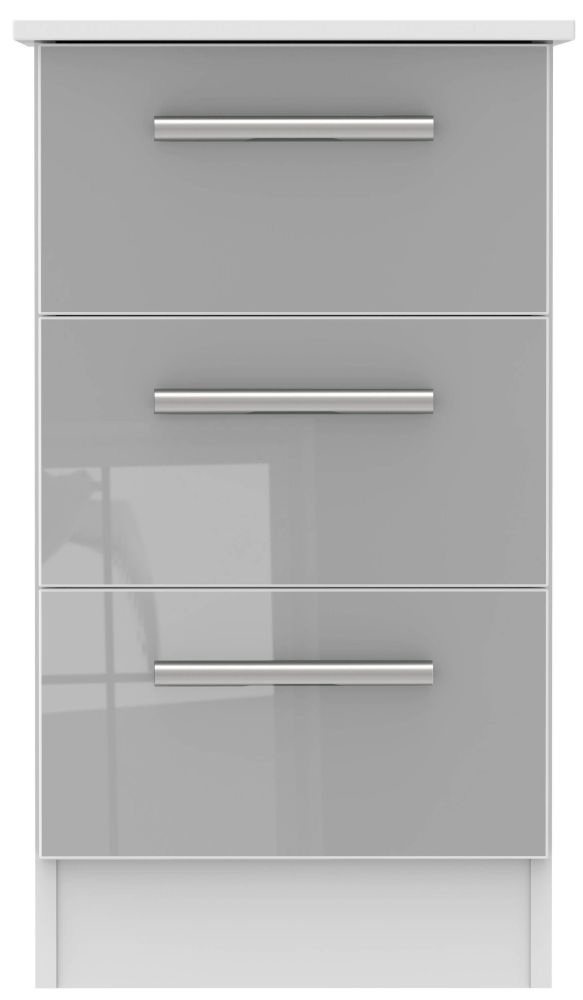 Contrast 3 Drawer Bedside Cabinet - High Gloss Grey and White