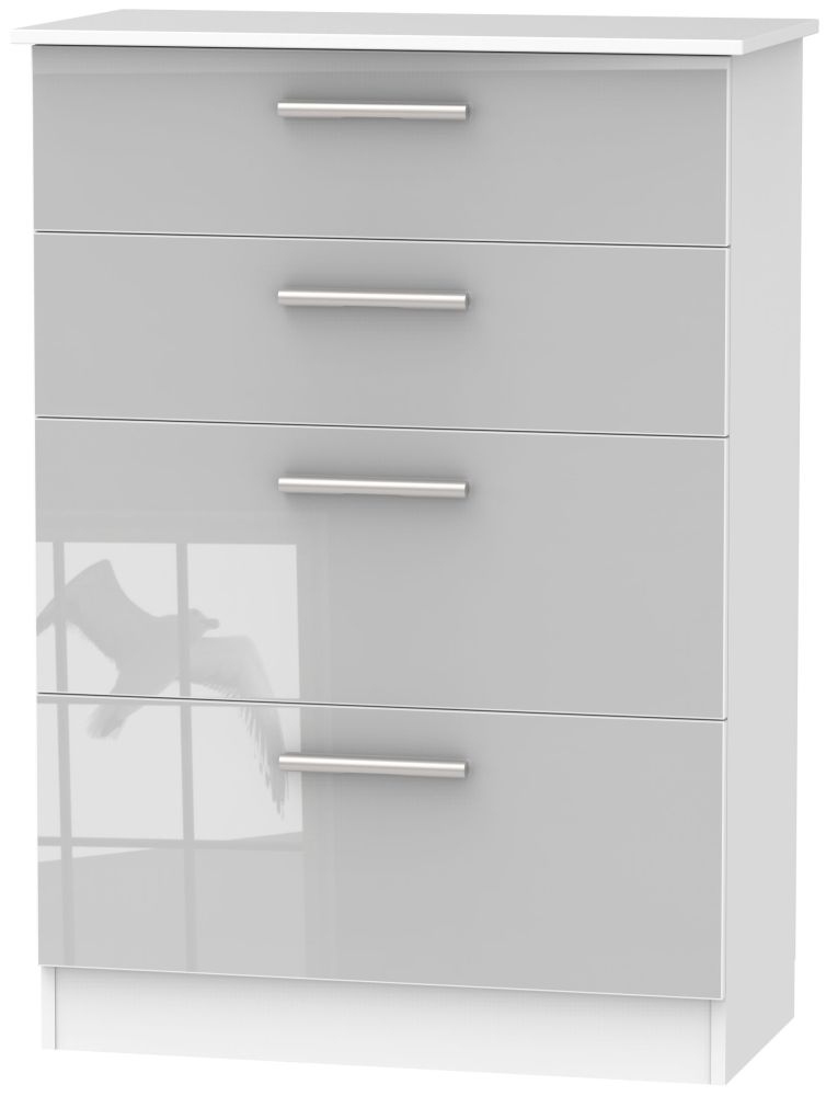 Contrast High Gloss Grey and White 4 Drawer Deep Chest