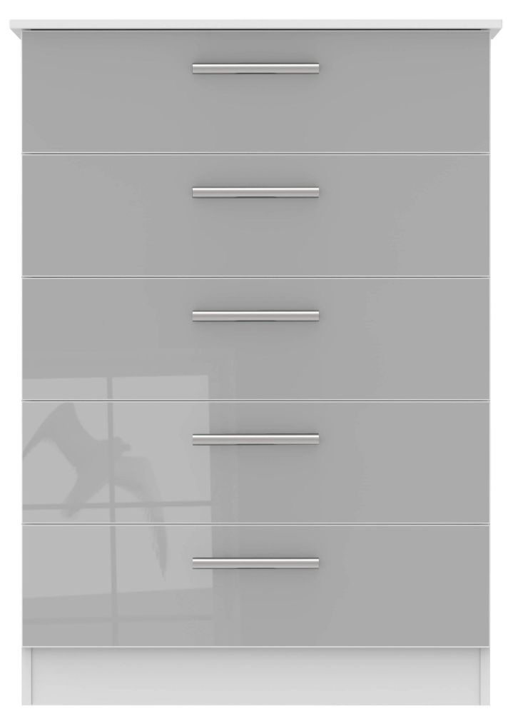 Contrast Grey High Gloss and White 5 Drawer Chest