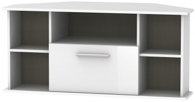 Contrast High Gloss White 1 Drawer Corner TV Unit