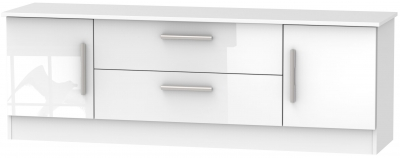 Contrast High Gloss White 2 Door 2 Drawer Wide TV Unit