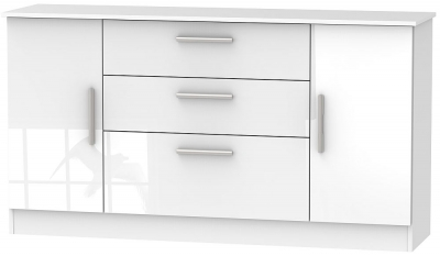 Contrast High Gloss White 2 Door 3 Drawer Wide Sideboard