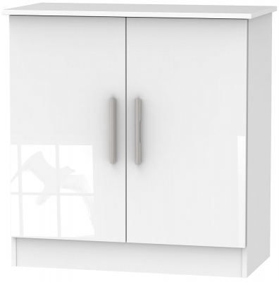 Contrast High Gloss White 2 Door Hall Unit