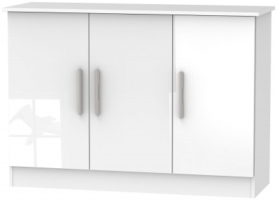 Contrast High Gloss White 3 Door Narrow Sideboard