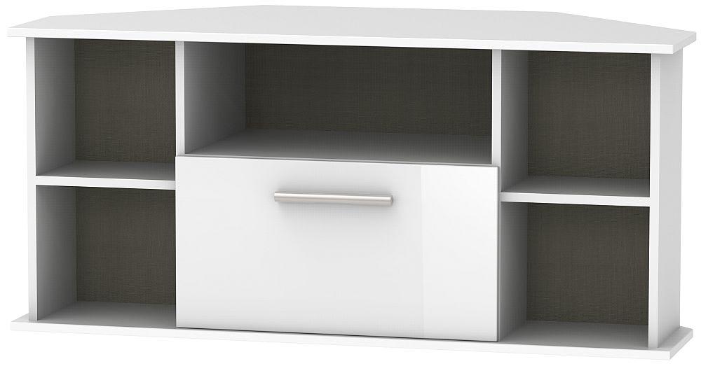 Contrast High Gloss White 1 Drawer Corner TV Unit