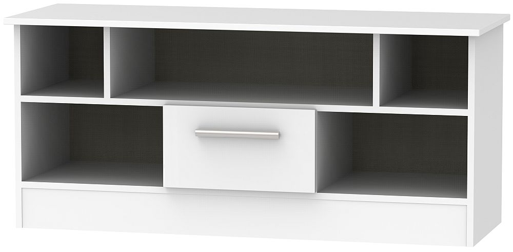 Contrast High Gloss White 1 Drawer Open TV Unit
