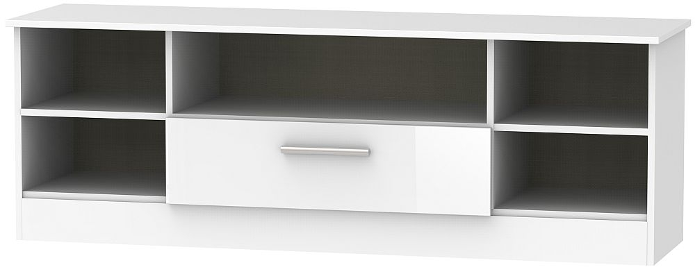 Contrast High Gloss White 1 Drawer Wide Open TV Unit