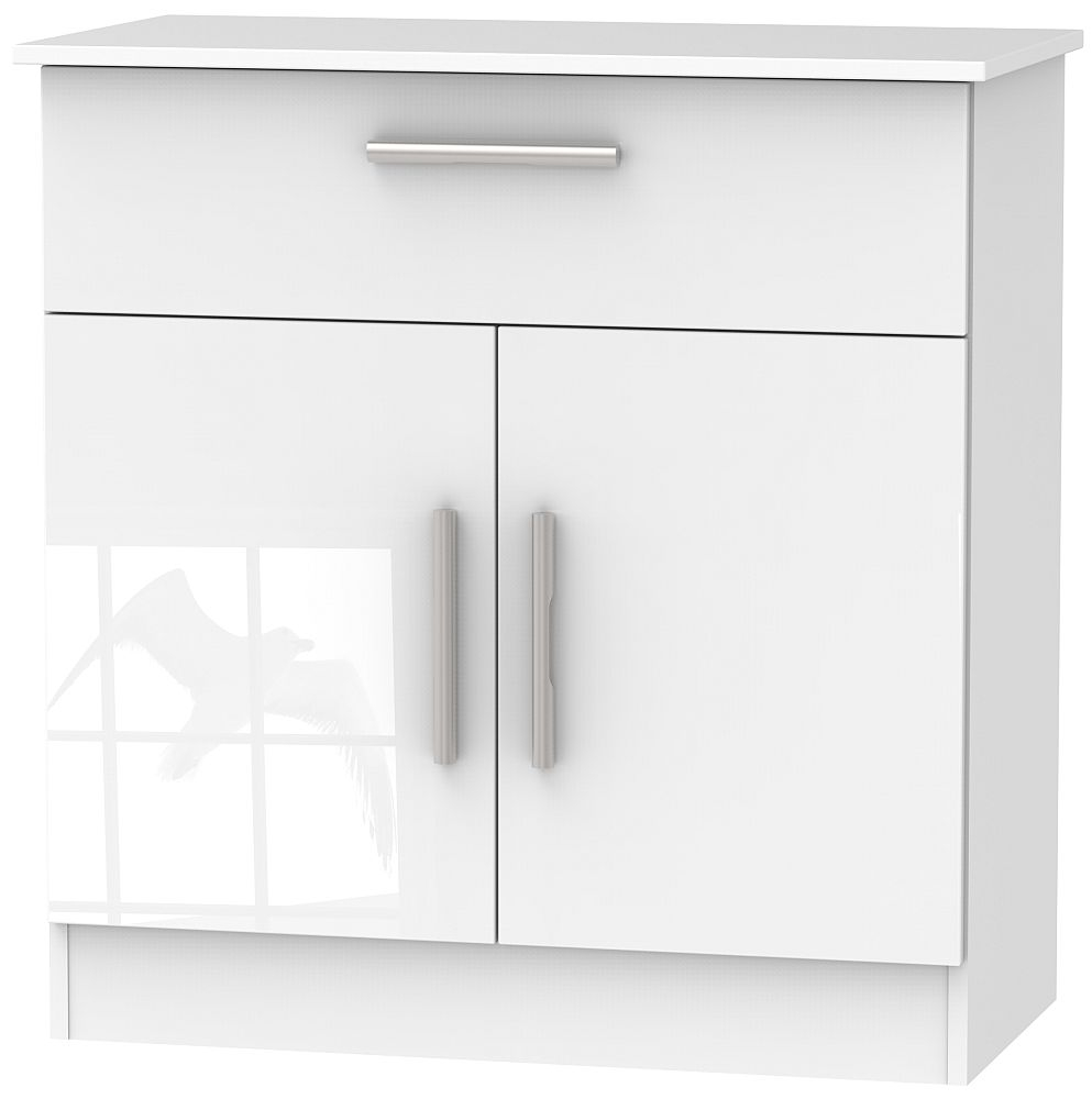 Contrast High Gloss White 2 Door 1 Drawer Narrow Sideboard