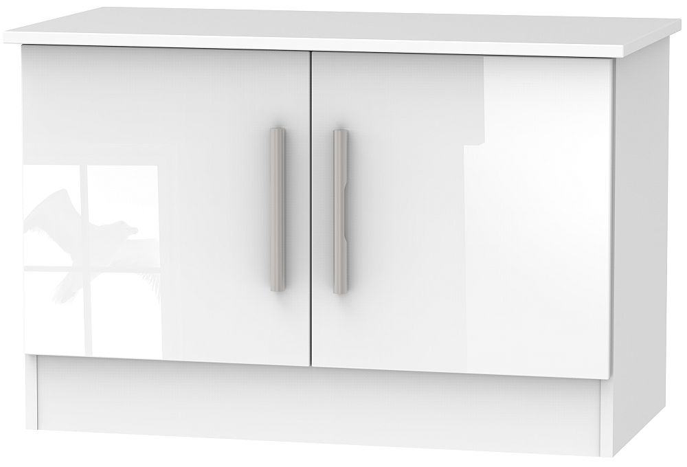 Contrast High Gloss White 2 Door Low Unit