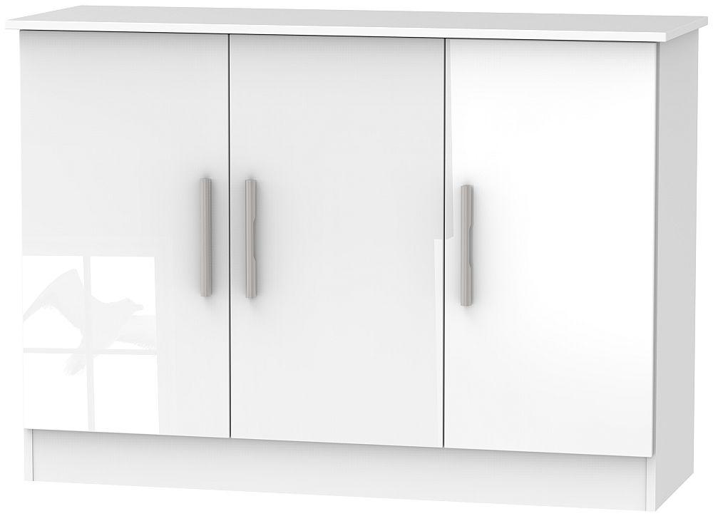 Contrast High Gloss White 3 Door Narrow Sideboard