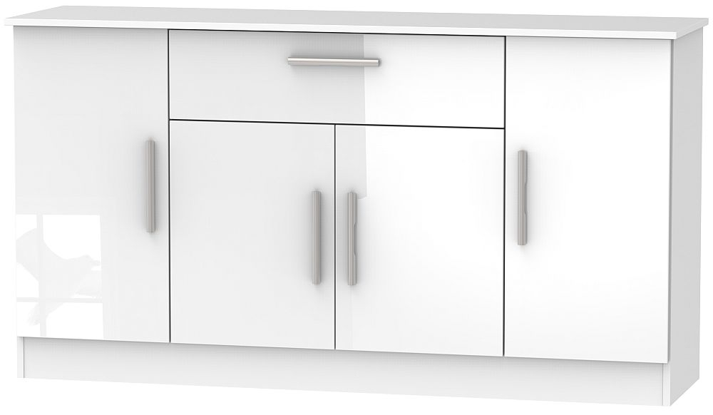 Contrast High Gloss White 4 Door 1 Drawer Wide Sideboard