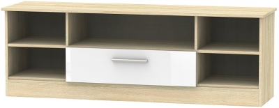 Contrast 1 Drawer Wide Open TV Unit - High Gloss White and Bardolino