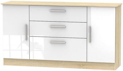 Contrast 2 Door 3 Drawer Wide Sideboard - High Gloss White and Bardolino