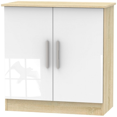 Contrast 2 Door Hall Unit - High Gloss White and Bardolino