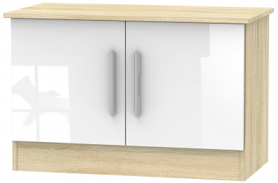 Contrast 2 Door Low Unit - High Gloss White and Bardolino