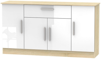 Contrast 4 Door 1 Drawer Wide Sideboard - High Gloss White and Bardolino